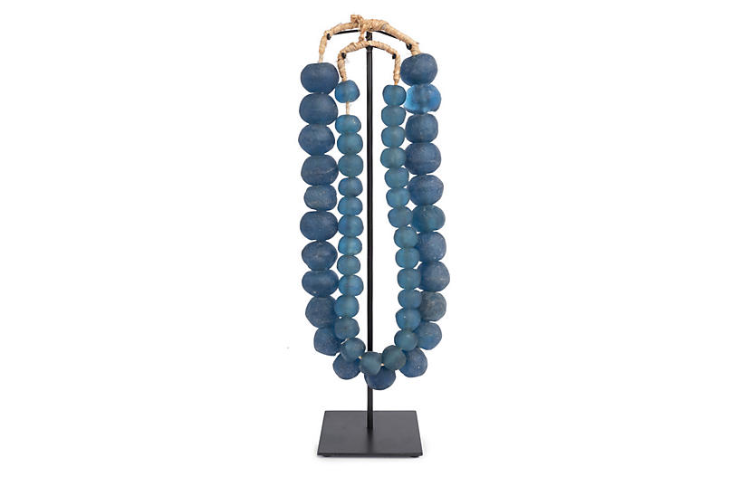 Asst. of 2 Ghanaian Glass Beads w/ Stand, Blue