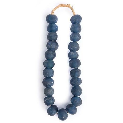 "15"" Ghanaian Glass Bead Strand, Blue"