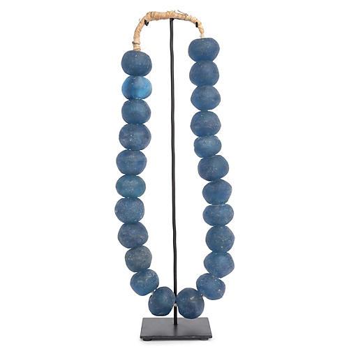 "17"" Ghanaian Glass Beads w/ Stand, Blue"