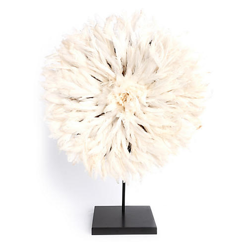 "26"" Juju Feather Hat w/ Stand, Cream/Black"