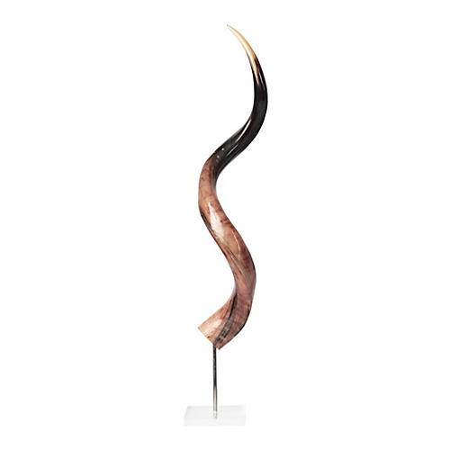 "31"" Kudu Horn on Stand, Polished Natural"