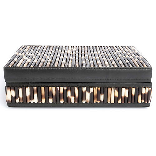 "11"" Porcupine Quill Decorative Box, Natural/Brown"