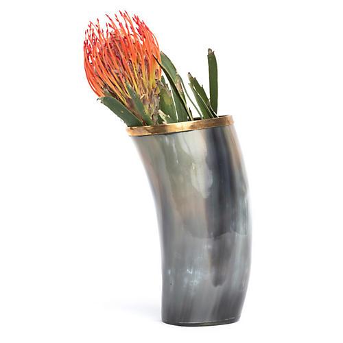 "6"" Cow Horn Decorative Vase w/ Trim, Natural/Gold"