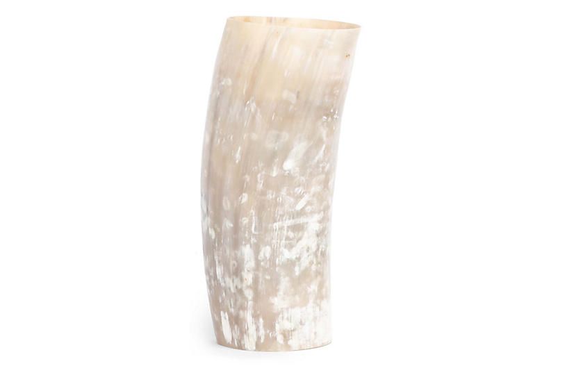 African Cow Horn Decorative Vase, Natural