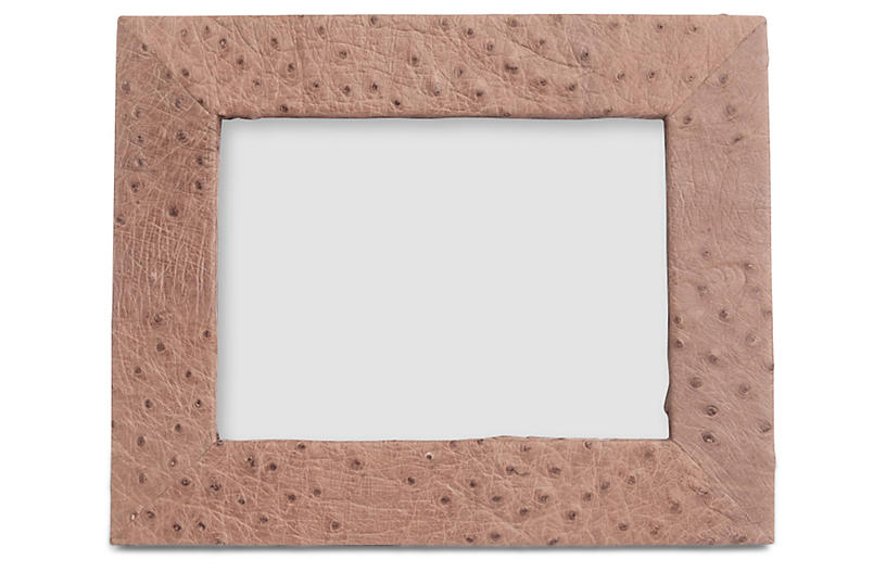 5x7 Ostrich Leather Frame, Pale Brown