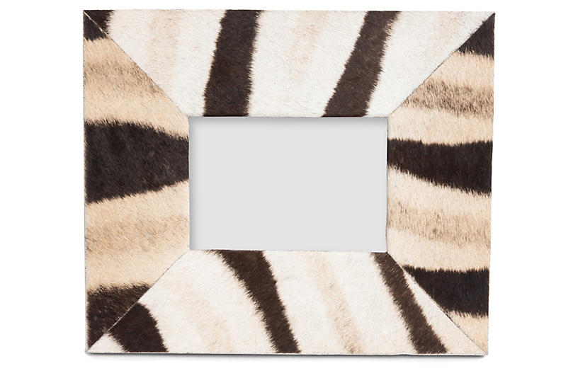 5x7 Zebra Hide Frame, Black/Natural