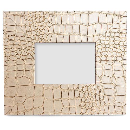 5x7 Croc-Embossed Leather Frame, Cream