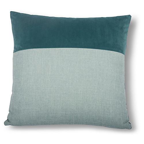Diplos 22x22 Pillow, Teal/Sky Blue