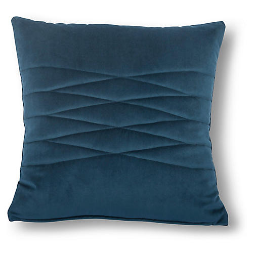 Alistaire 18x18 Quilted Pillow, Navy Velvet