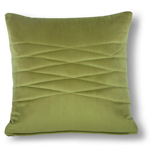 Alistaire 18x18 Quilted Pillow, Green Velvet