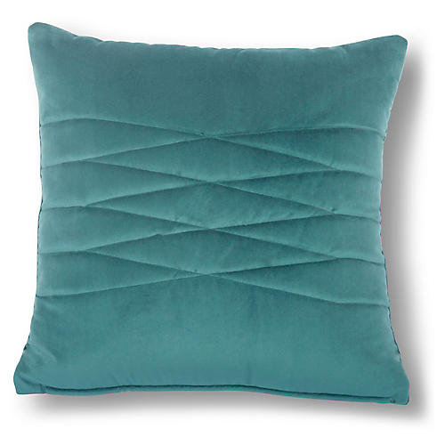 Alistaire 18x18 Quilted Pillow, Teal Velvet