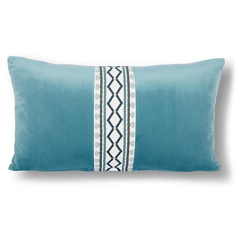 Paloma 12x20 Lumbar Pillow, Cyan Velvet