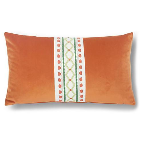 Paloma 12x20 Lumbar Pillow, Orange Velvet