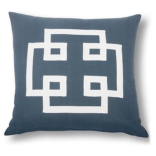 Jacoba 22x22 Pillow, Navy/White Linen
