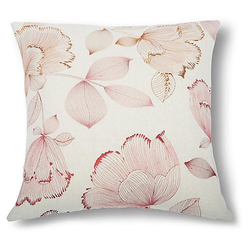 Narcissus Floral Pillow, Rosewood Linen