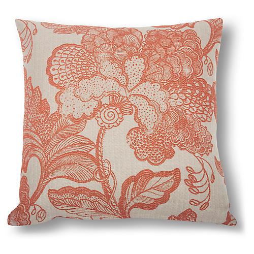 Raelyn Floral Pillow, Salmon/Natural