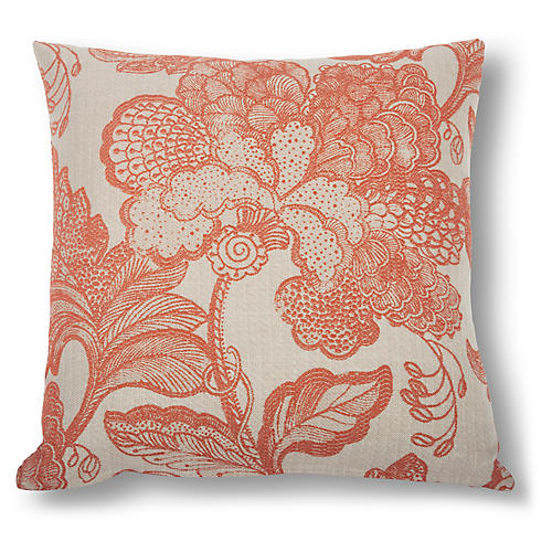 Raelyn Floral Pillow, Salmon/Natural