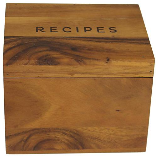 Acacia Recipe Box, Natural