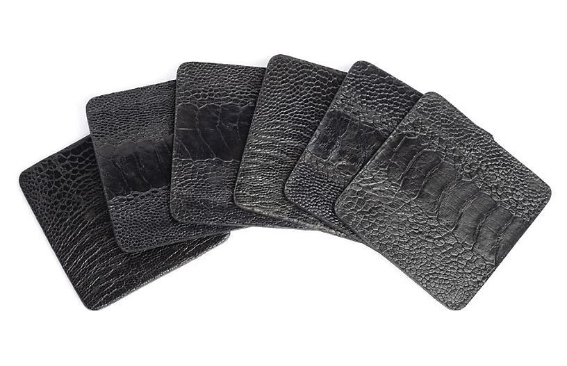 S/6 Ostrich Coasters, Black