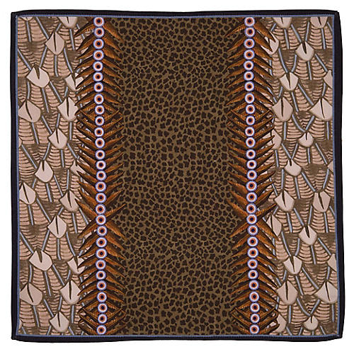 S/2 Feather Stone Napkins, Brown/Multi