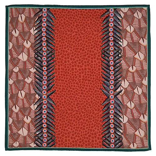 S/2 Feather Coral Napkins, Red/Multi