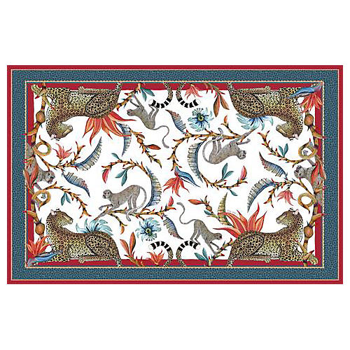 Monkey Paradise Sundowner Tablecloth, Red/Multi