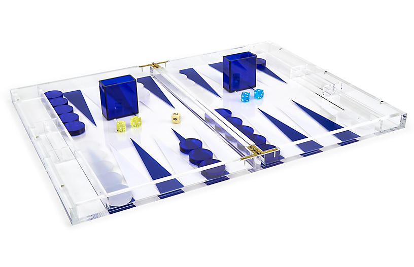 Barona Backgammon Set, Blue