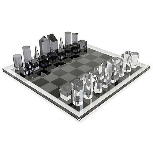 Sonora Geometric Chess Set, Black/White