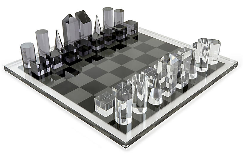 Sonora Geometric Chess Set, Black/White