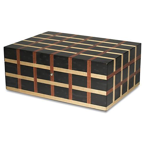 Lugo Grid Jewelry Box, Ebony/Mocha