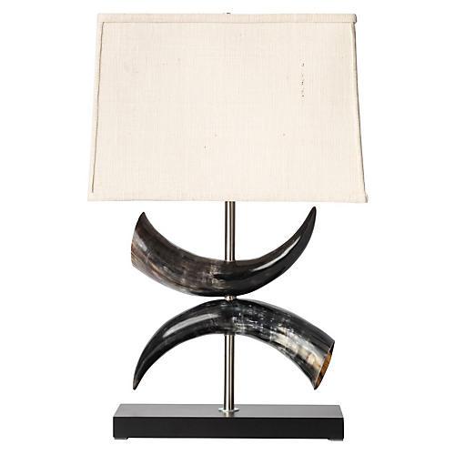 Cow Horn Table Lamp, Ebony