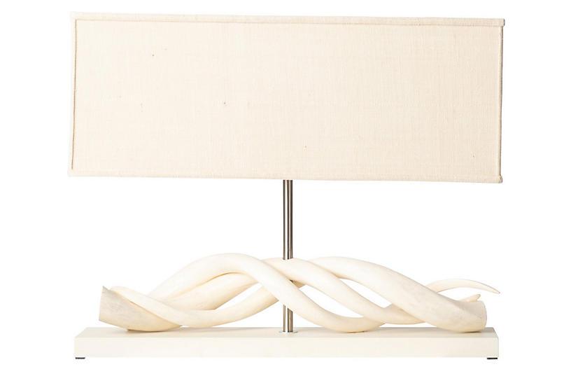 Kudu Horn Table Lamp, Cream