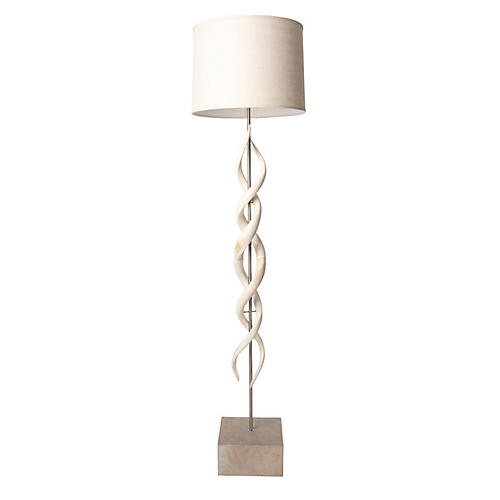 Deluxe Kudu Horn Twist Floor Lamp, Cream