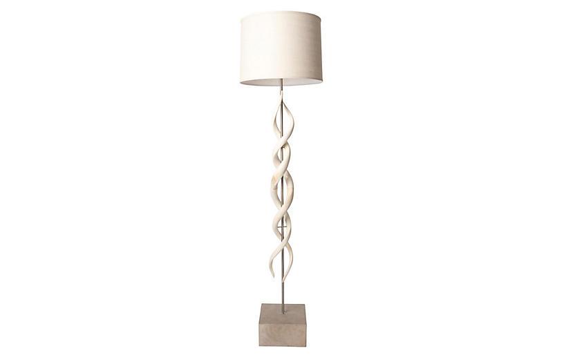 Deluxe Kudu Horn Twist Floor Lamp, Cream