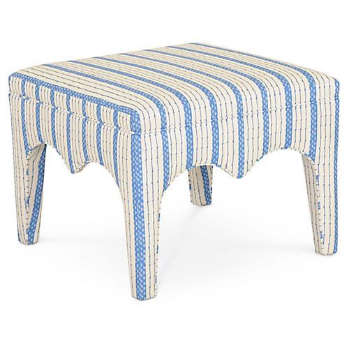 Tabouret Ottoman, Blue Ticking Stripe