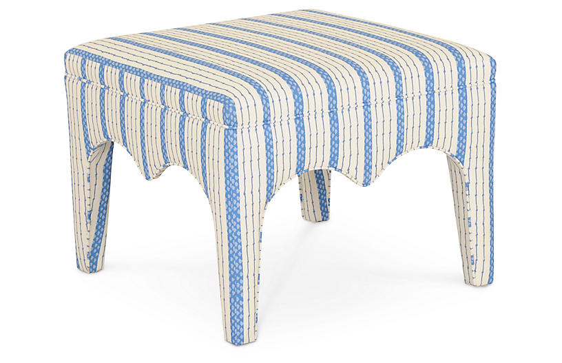 Tabouret Ottoman, Blue Ticking Stripe