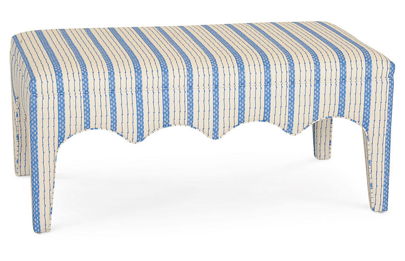 Tabouret Bench, Blue Ticking Stripe
