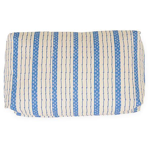 Ticking Stripe 12x20 Lumbar Pillow, Blue/Ivory