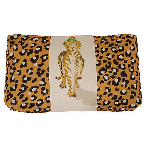 Tigress Stripe 16x30 Lumbar Pillow, Leopard/Ivory