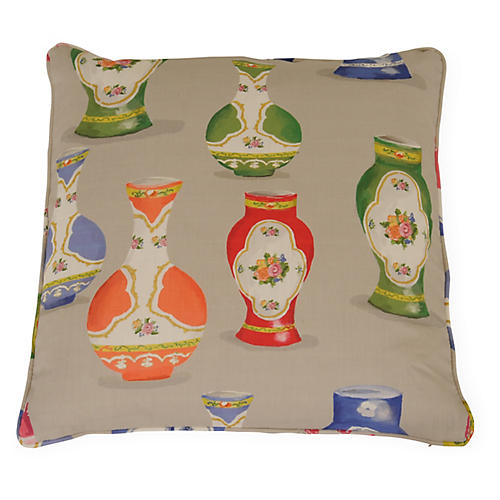 Meissen 22x22 Pillow, Gray/Multi