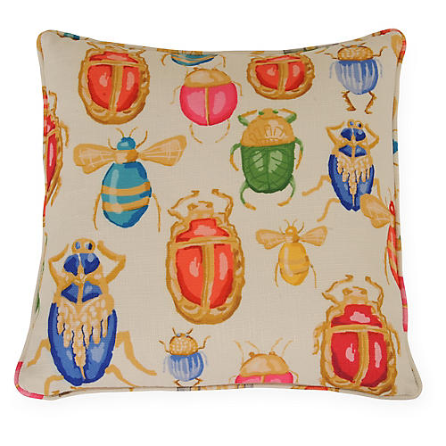 Buggy 22x22 Pillow, Gold/Multi