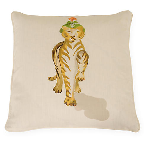 Tigress 22x22 Pillow, Ivory