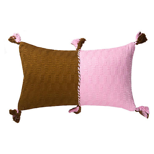 Antigua 12x20 Color-Blocked Pillow, Pink/Umber
