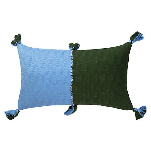 Antigua 12x20 Color-Blocked Pillow, Blue/Olive