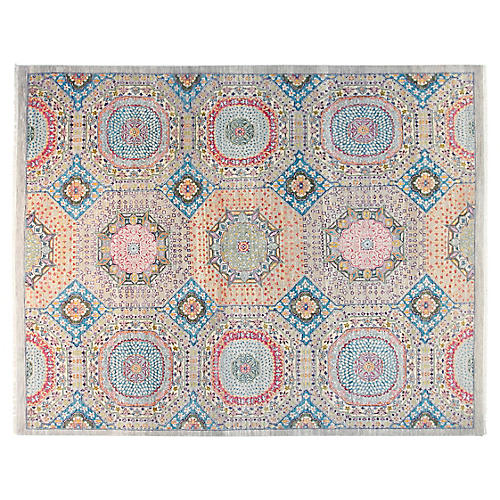 8'x10' Mamluk Sari Rug, Silver Blue