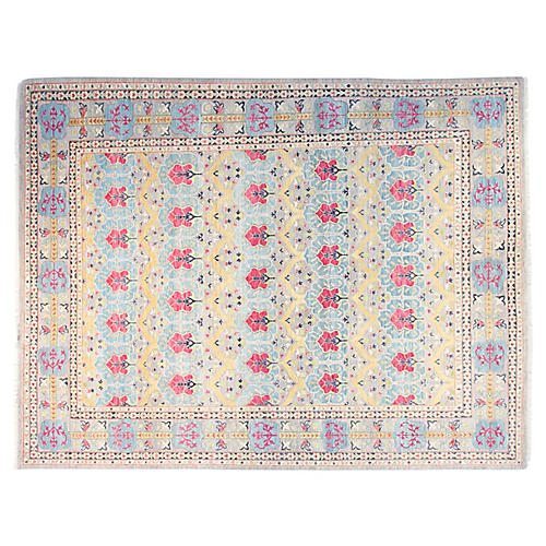 9'x12' Chrysa Sari Rug, Light Blue