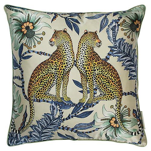 Leopard 16x16 Silk Pillow, Tanzanite
