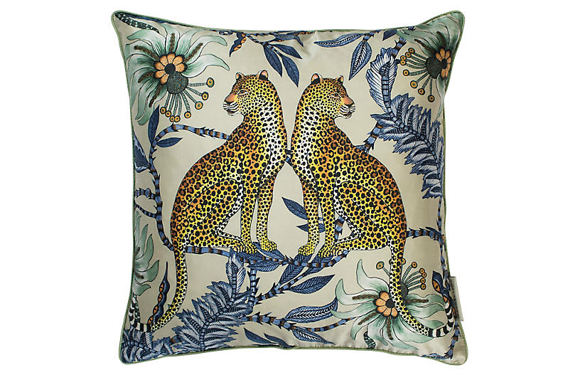 Leopard 16x16 Silk Pillow, Tanzanite