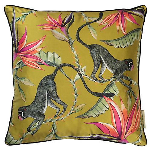Monkey Paradise 16x16 Pillow, Mustard
