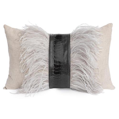 Ostrich 14x22 Lumbar Pillow, Gray